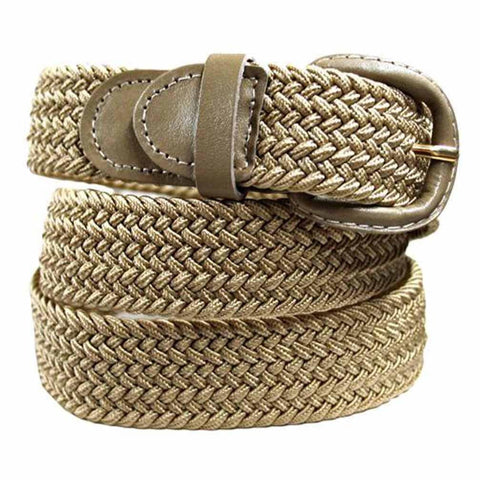 Unisex Braided Elastic Woven Stretch Belt with Genuine Leather Buckle Beige Color - WholesaleLeatherSupplier.com  - 15