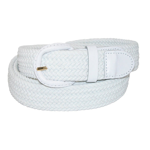 Unisex Braided Elastic Woven Stretch Belt with Genuine Leather Buckle Beige Color - WholesaleLeatherSupplier.com  - 11
