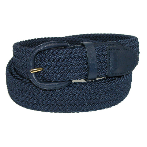 Unisex Braided Elastic Woven Stretch Belt with Genuine Leather Buckle Beige Color - WholesaleLeatherSupplier.com  - 3