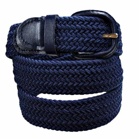 Unisex Braided Elastic Woven Stretch Belt with Genuine Leather Buckle - WholesaleLeatherSupplier.com  - 15