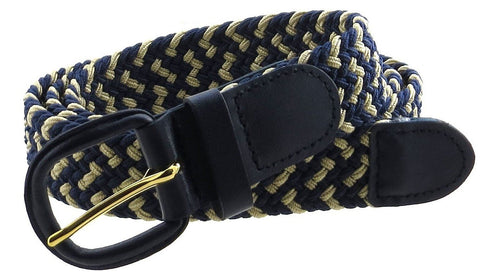 "Unisex Braided Elastic Woven Stretch Belt with Genuine Leather Buckle Grey Color Belts WholesaleLeatherSupplier.com Navy Blue with White S - measures 38"" L"