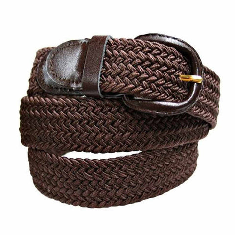 Unisex Braided Elastic Woven Stretch Belt with Genuine Leather Buckle Beige Color - WholesaleLeatherSupplier.com  - 14