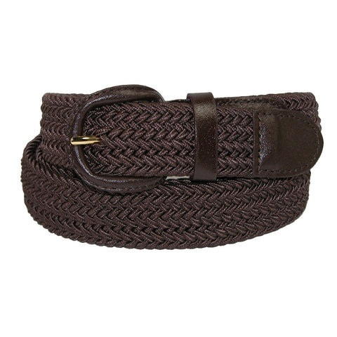 Unisex Braided Elastic Woven Stretch Belt with Genuine Leather Buckle Beige Color - WholesaleLeatherSupplier.com  - 4