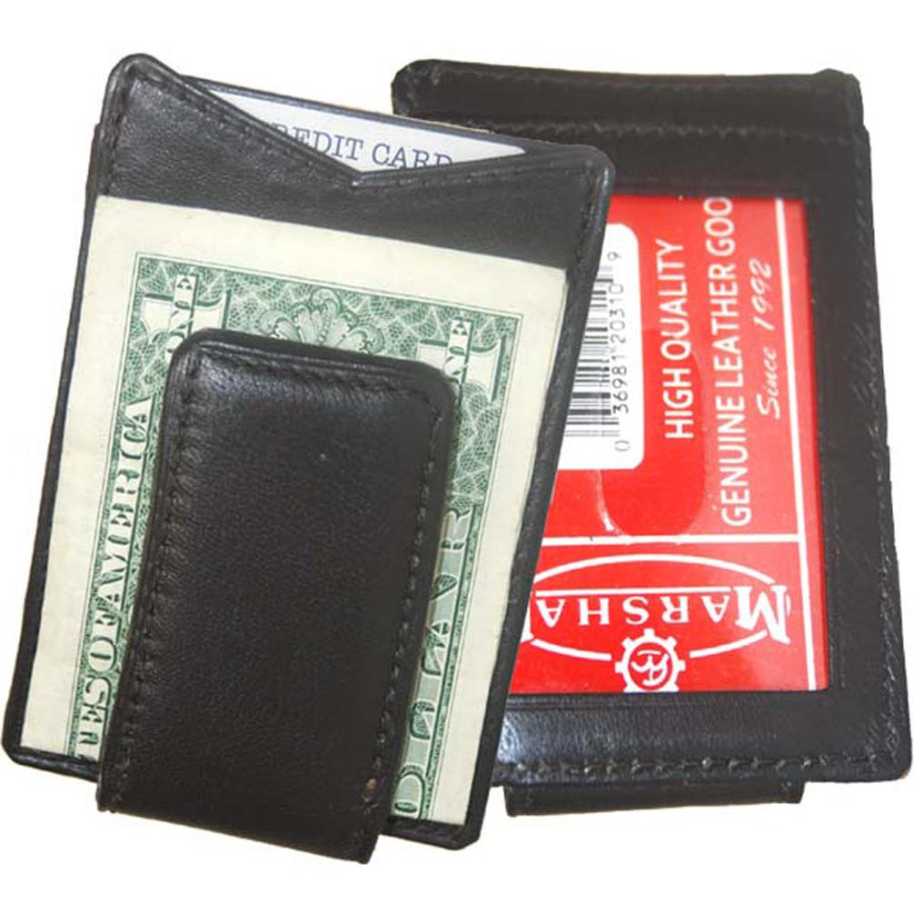 Leather Wallet with Strong Magnet Clip