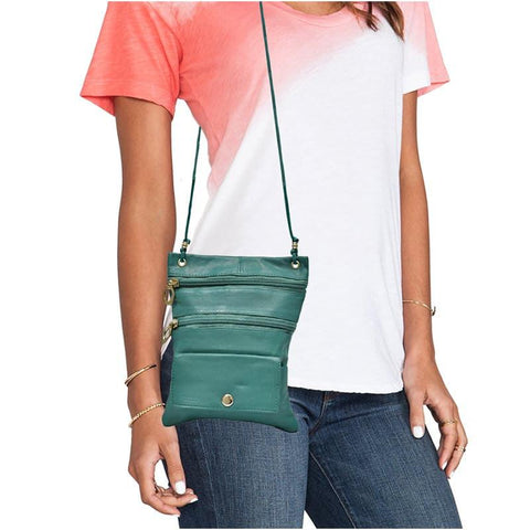Multi-Pocket Leather Crossbody Bag or Wallet