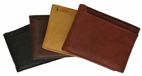 "Men's Genuine Leather Bi-fold 8.5"" x 3.5"" Wallet-Assorted Colors"