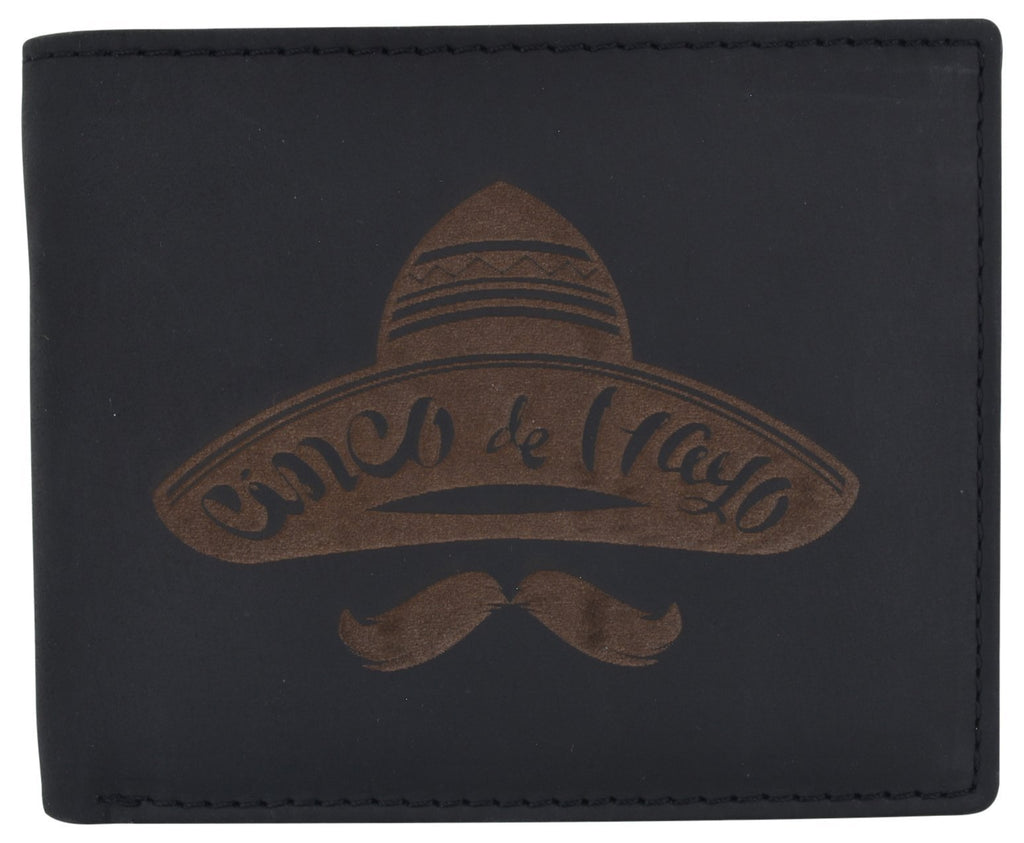 AFONiE RFID Rustic Men Wallet-Sombrero Design Craft Stamp