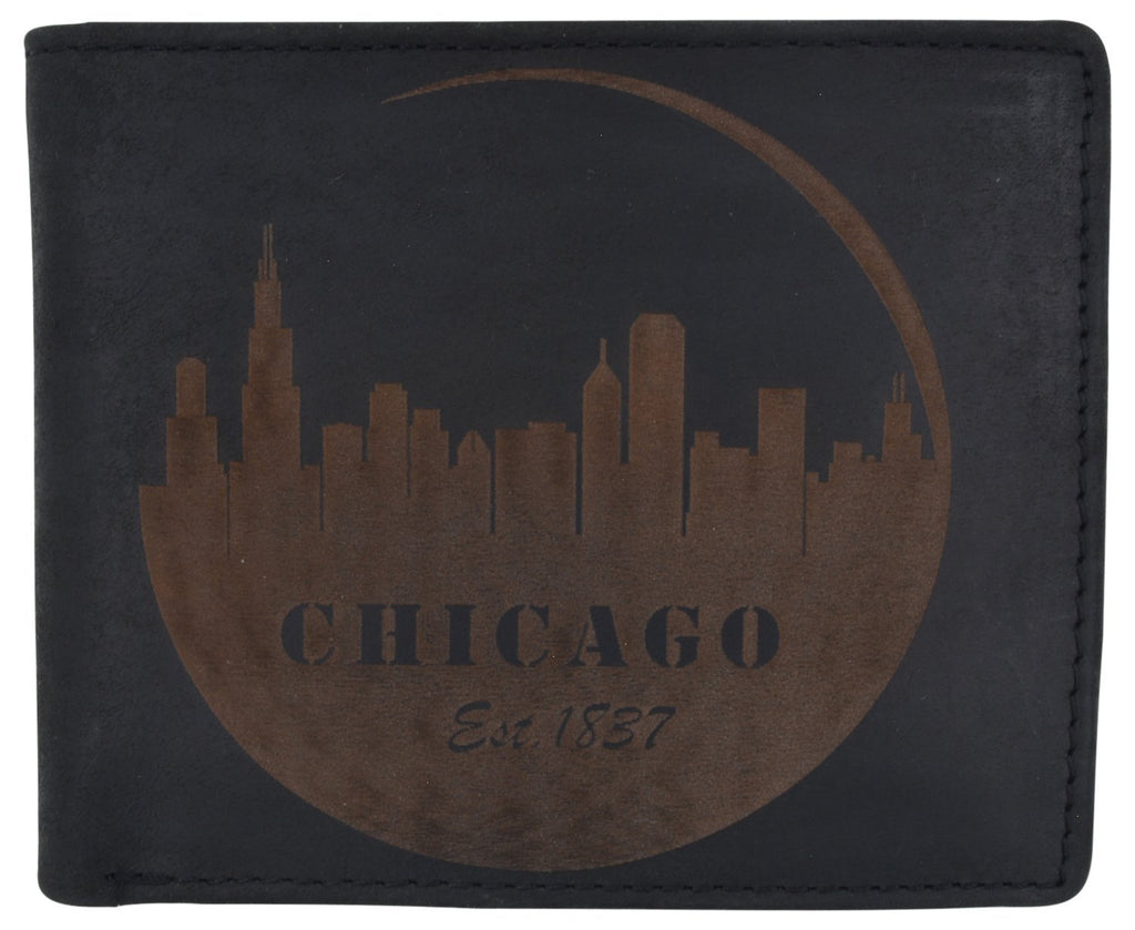 AFONiE RFID Rustic Men Wallet-Chicago Design Craft Stamp