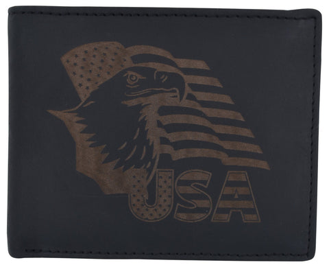RFID Rustic Men Wallet-Eagle USA Design Craft Stamp