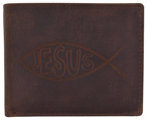 AFONiE RFID Rustic Men Wallet-Jesus Design Craft Stamp