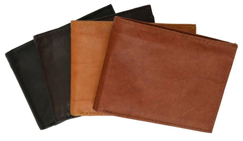 "Men's  Genuine Leather Bi-fold 9"" x 3.5"" Flip Wallet - Assorted Colors - WholesaleLeatherSupplier.com  - 6"