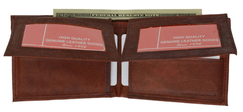 "Men's  Genuine Leather Bi-fold 9"" x 3.5"" Flip Wallet - Assorted Colors - WholesaleLeatherSupplier.com  - 5"