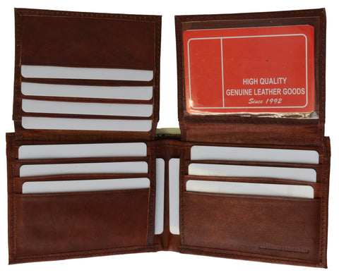 "Men's  Genuine Leather Bi-fold 9"" x 3.5"" Flip Wallet - Assorted Colors - WholesaleLeatherSupplier.com  - 3"
