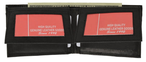 "Men's  Genuine Leather Bi-fold 9"" x 3.5"" Flip Wallet - Assorted Colors - WholesaleLeatherSupplier.com  - 8"