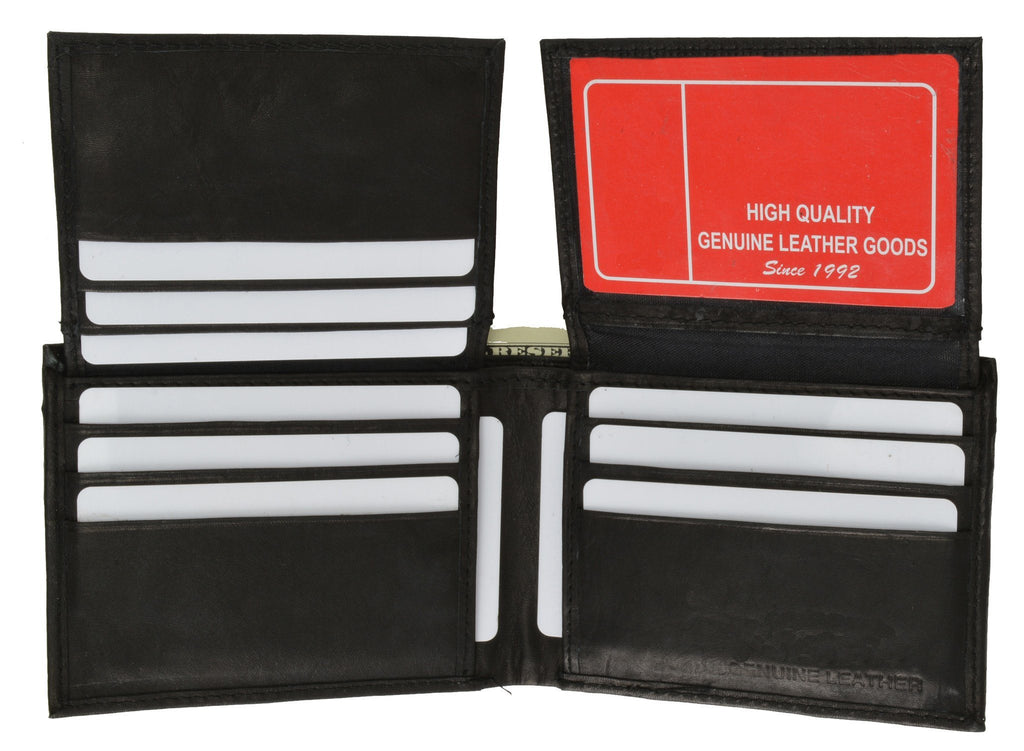 "Men's  Genuine Leather Bi-fold 9"" x 3.5"" Flip Wallet - Assorted Colors - WholesaleLeatherSupplier.com  - 2"