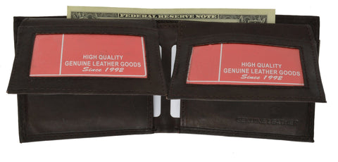 "Men's  Genuine Leather Bi-fold 9"" x 3.5"" Flip Wallet - Assorted Colors - WholesaleLeatherSupplier.com  - 11"