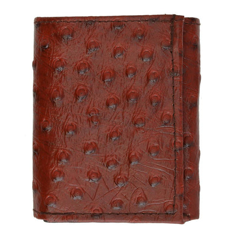 Ostrich Leather Wallet - Burgundy