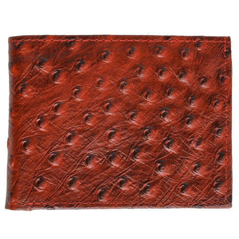 Ostritch Leather Men Wallet with Hideaway Zippered Pocket - Brown