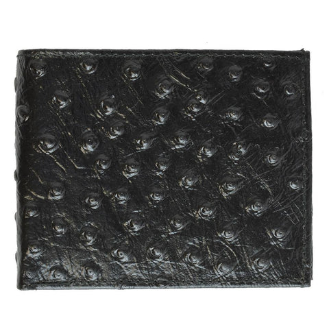 Ostritch Leather Men Wallet with Hideaway Zippered Pocket - Black