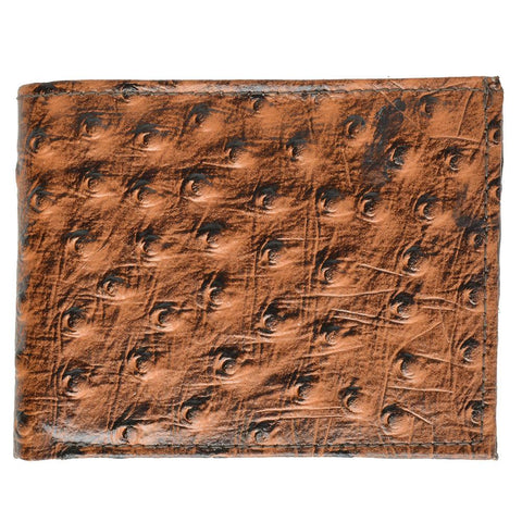 Ostritch Leather Men Wallet with Hideaway Zippered Pocket - Tan