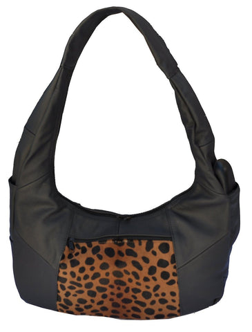 Large Top Zip Hobo Geniune Leather Black Color - WholesaleLeatherSupplier.com  - 21