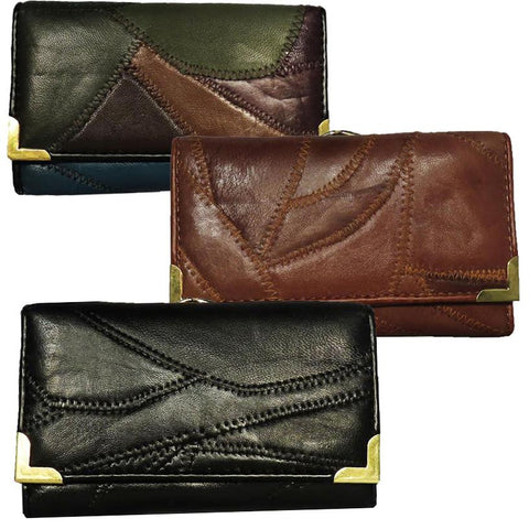 Zigzag stitch Women leather Wallet