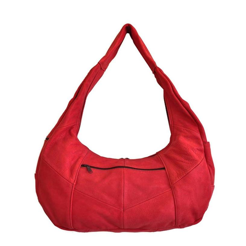 Large Top Zip Hobo Genuine Leather Red Color - WholesaleLeatherSupplier.com  - 1