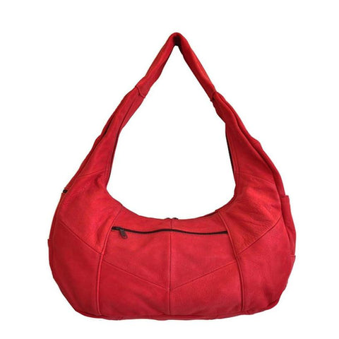 Large Top Zip Hobo Genuine Leather Red Color