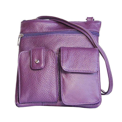 Soft Leather Two Front Purse Purple Color Cross-body Style