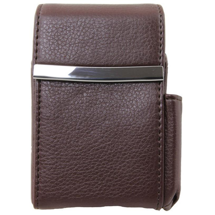 Genuine Leather Brown Fliptop Cigarette Case - WholesaleLeatherSupplier.com