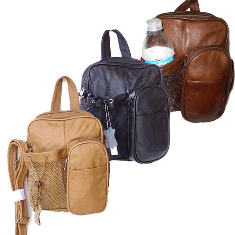 Leather Backpack - Crossbody Bag Style Tan Color - WholesaleLeatherSupplier.com  - 5