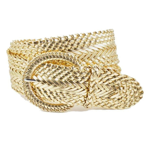 Genuine Leather Woven Braid Gold Belt