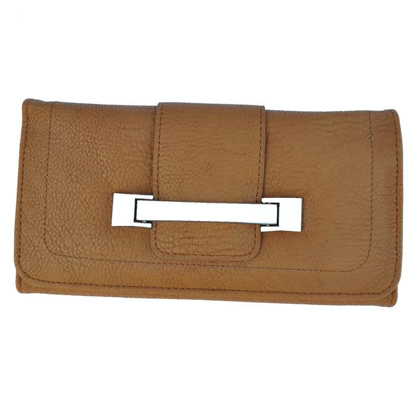 Metallic Flap Soft Bend Leather Wallet - Tan Color - WholesaleLeatherSupplier.com  - 1