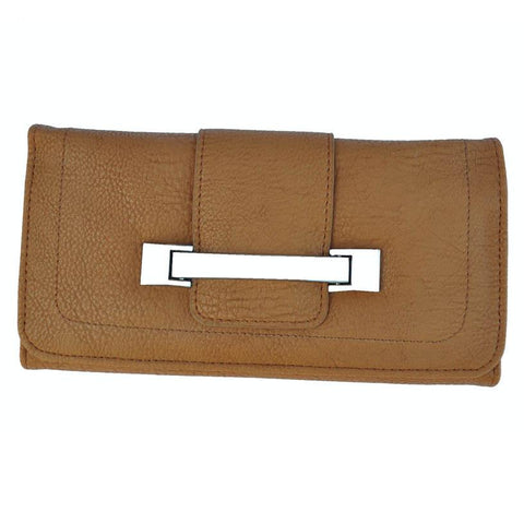 Metallic Flap Soft Bend Leather Wallet - Tan Color