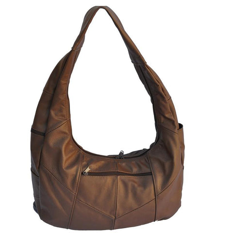 AFONiE Brown Large Top Zip Hobo Genuine Leather