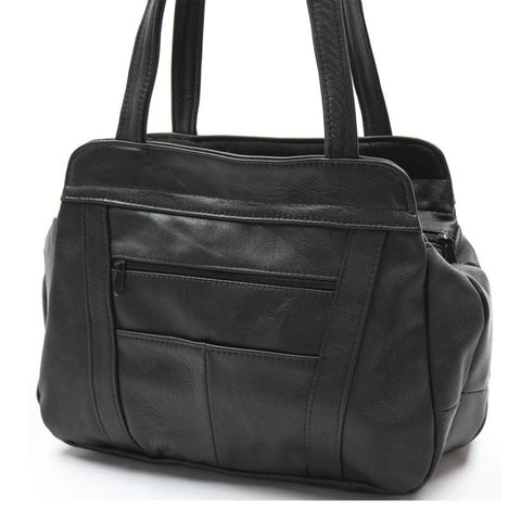 AFONiE 3 Compartments Tote Leather Bag - Black