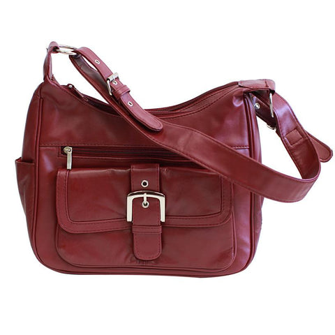 Soft Leather Buckle Accent Classic Burgundy Purse