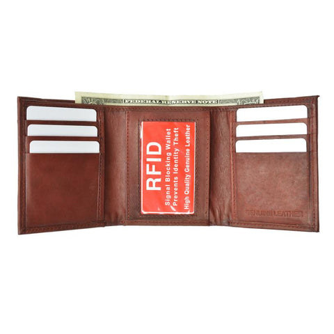 Mens Trifold Leather Wallet RFID Blocking - WholesaleLeatherSupplier.com  - 1
