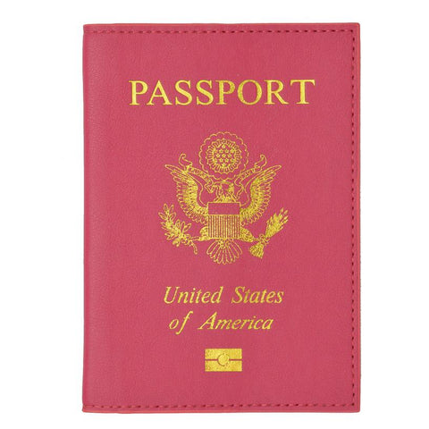 Leather USA Logo Passport Holder - Hot Pink - WholesaleLeatherSupplier.com  - 8