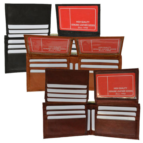 "Men's  Genuine Leather Bi-fold 9"" x 3.5"" Flip Wallet - Assorted Colors - WholesaleLeatherSupplier.com  - 1"