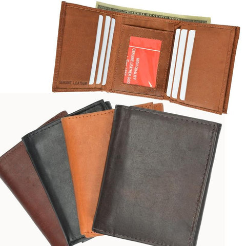 Genuine Leather Tri-fold Casual Men's Wallet