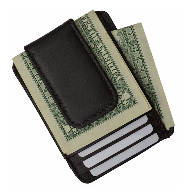 Luxurious Genuine Leather Magnetic Money Clip - WholesaleLeatherSupplier.com  - 1