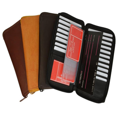Unisex Genuine Leather Bi-fold Zip Around Large Credit Card Holder Wallet