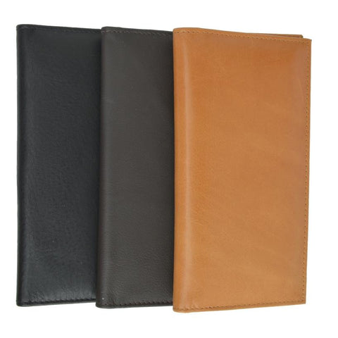 Unisex High Quality Checkbook Size Leather Wallet - Assorted Colors