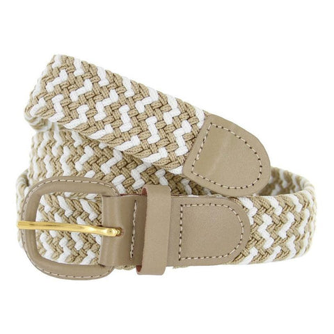 Unisex Braided Elastic Woven Stretch Belt with Genuine Leather Buckle Beige Color - WholesaleLeatherSupplier.com  - 6