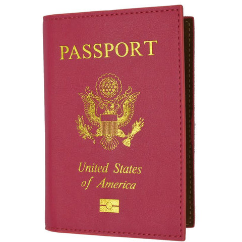 Leather USA Logo Passport Holder - Hot Pink - WholesaleLeatherSupplier.com  - 1
