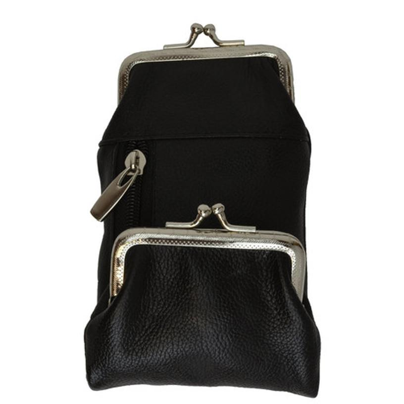 Genuine Leather Cigarette Case with a Kiss-lock Closure Change Purse - WholesaleLeatherSupplier.com