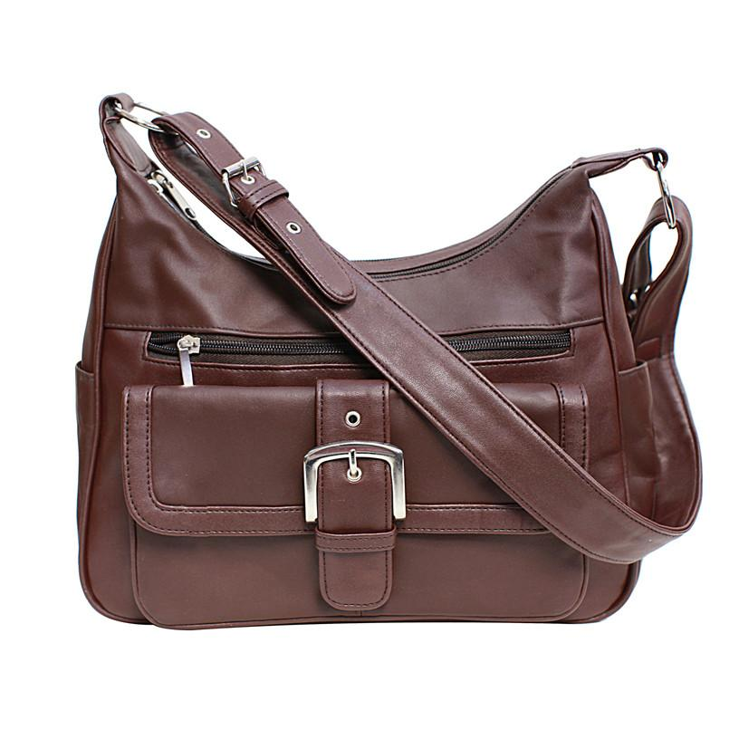Soft Leather Buckle Accent Classic Brown Purse