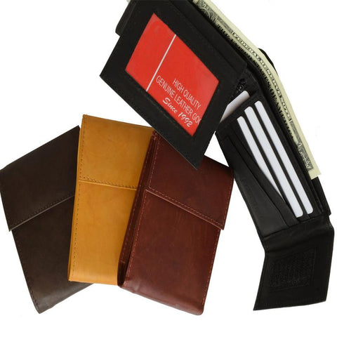 Men's Genuine Leather Bi-fold Safe Wallet - WholesaleLeatherSupplier.com  - 1