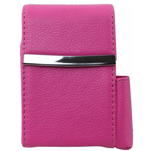 Genuine Leather Hot Pink Fliptop Cigarette Case - WholesaleLeatherSupplier.com